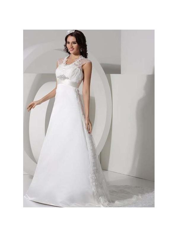 A line empire waist chapel train tulle satin strapless for Empire waist tulle wedding dress