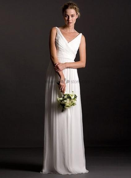 OLIVIA - Bridesmaid Sheath/Column Floor length Georgette V-neck Wedding party dress
