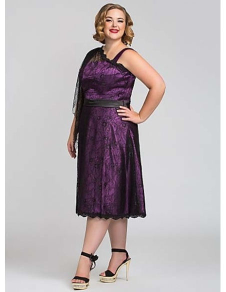 LORE - Mother of the bride Plus size Sheath/Column Knee length Lace Asymmetrical Wedding party dress