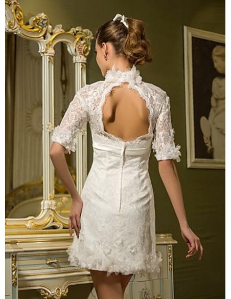 NICKY - Short Empire waist Short/Mini Lace High round/Slash neck Wedding dress