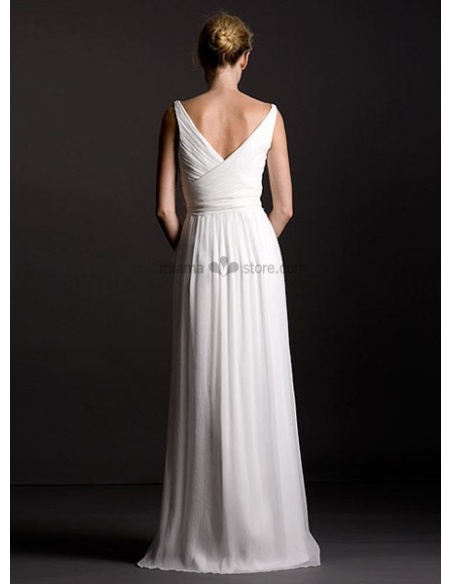 OLIVIA - Bridesmaid Sheath/Column Floor length Chiffon V-neck Wedding party dress