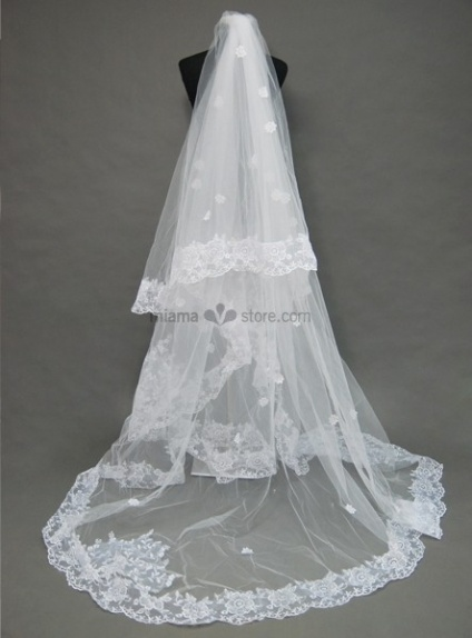 Two lavers Cathedral Embroidery Wedding veil