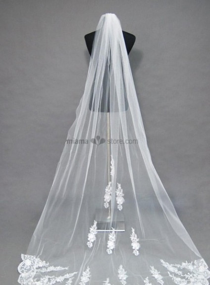 One layer Cathedral Embroidery Wedding veil