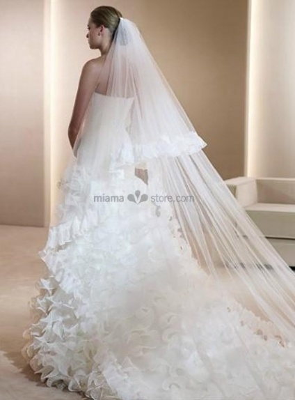 Two layers Cathedral Ruffles Wedding veil