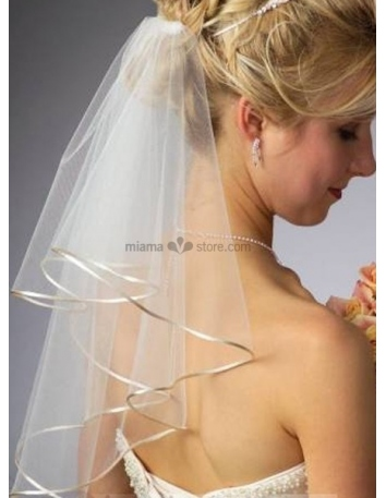 Two layers Elbow Ribbon Wedding veil