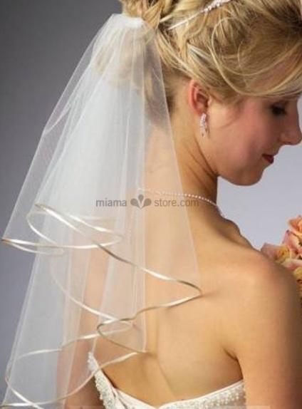 Two layers Elbow Ribbon Wedding veil