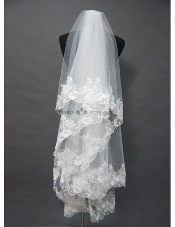 Three layers Elbow Embroidery Wedding veil