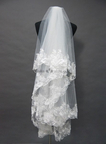 Three layers Elbow Embroidery Wedding veil