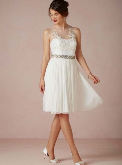 Cocktail Length Chiffon Wedding Dress