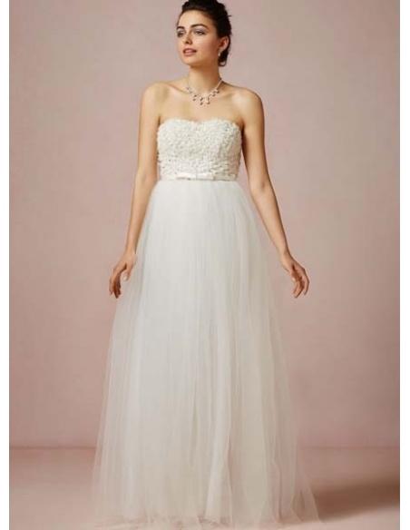 NICOLE - A-line Empire waist Floor length Tulle Sweetheart Wedding dress