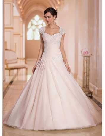 JENNIFER - A-line Sweetheart Chapel train Tulle Sweetheart Wedding dress