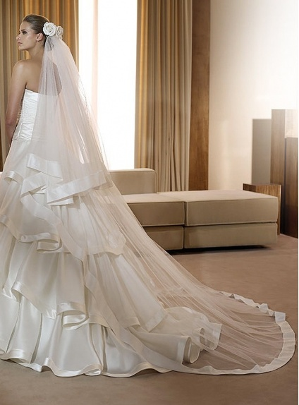 Two layer Cathedral Ribbon Wedding veil