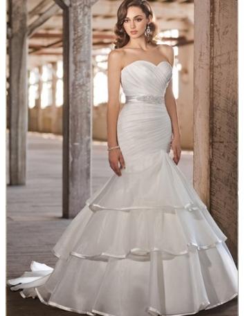 BRIANNA - Mermaid Sweetheart Chapel train Organza Wedding dress