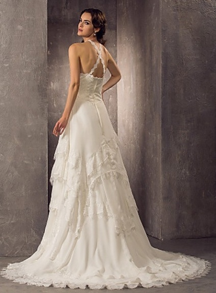 Cathy A Line Chapel Train Chiffon Lace Halter Wedding Dress