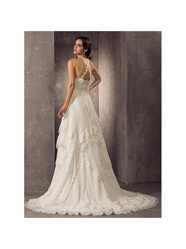 A Line Chapel Train Chiffon Lace Halter Wedding Dress