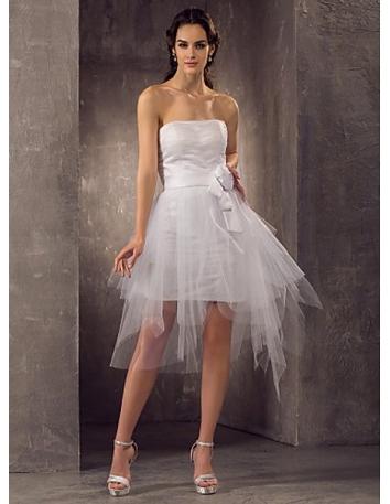 CHARLOTTE - A-line Empire waist Asymmetrical Satin Tulle Strapless Wedding dress