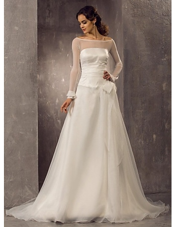 CHERRY - A-line Chapel train Organza Tulle Low round/Scooped neck Wedding dress