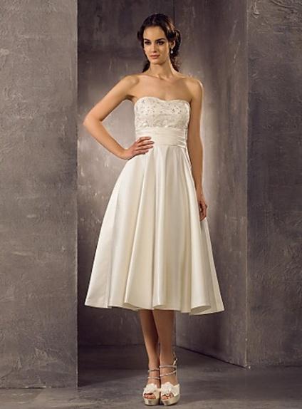 A-line Empire waist Ankle length Satin Lace Sweetheart Wedding dress