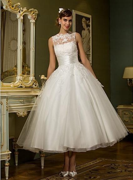 Robe de mariée longueur mi-mollet en tulle