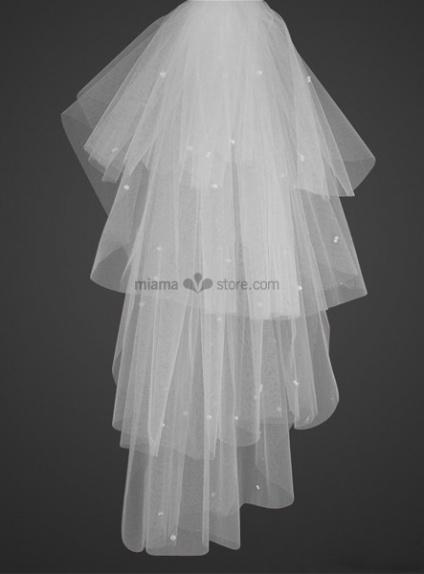 Four layers Elbow Beading Wedding veil