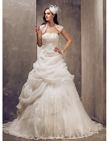 DONNA - A-line Strapless Chapel train Tulle Organza satin Wedding dress