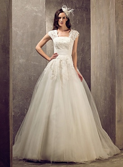 A-line Chapel train Satin Lace Square neck Wedding dress