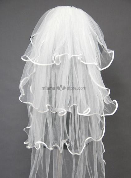 Four layers Elbow Ruffles Wedding veil