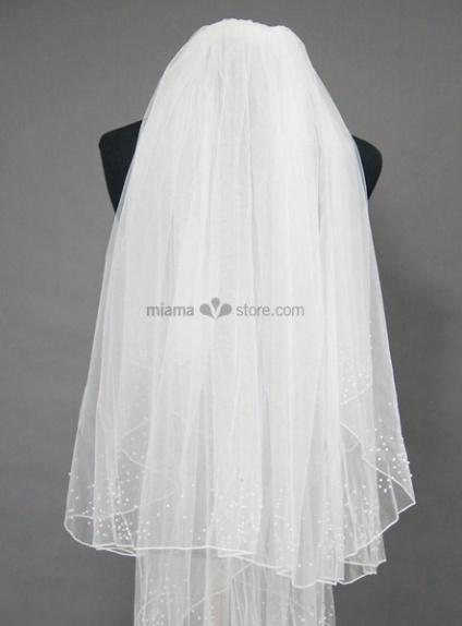 Two layers Elbow Beading Wedding veil
