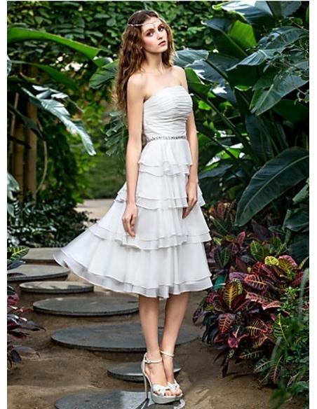 EVELYN - A-line Short Knee length Chiffon Strapless Wedding dress