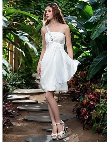 Petite robe de mariée en chiffon mono épaule taille empire économique