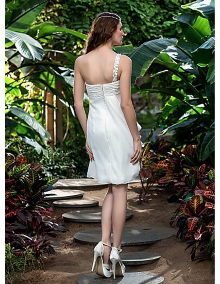 FAITHE - Empire waist Short Knee length Chiffon One shoulder Wedding dress