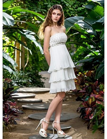 FRANCES - Empire waist Short Knee length Chiffon Strapless Wedding dress