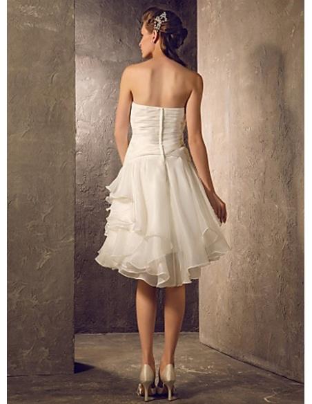 FREDA - A-line Short Knee length Chiffon Strapless Wedding dress
