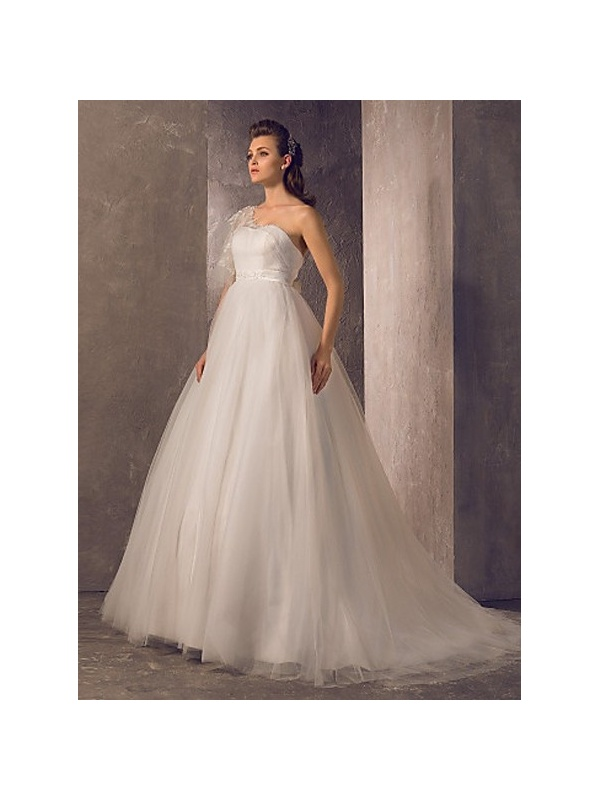 A line empire waist chapel train tulle lace one shoulder for Empire waist tulle wedding dress