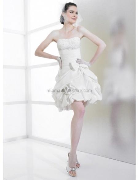 SAMANTHA - Short Strapless A-line Cheap Taffeta Wedding dress