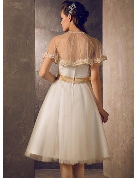 GLADYS - A-line Short Knee length Tulle Strapless Wedding dress