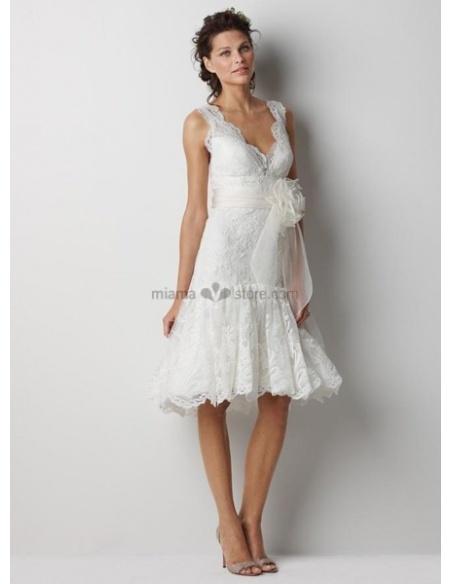 ELIZABETH - Short V-neck Sheath Cheap Lace Wedding dress