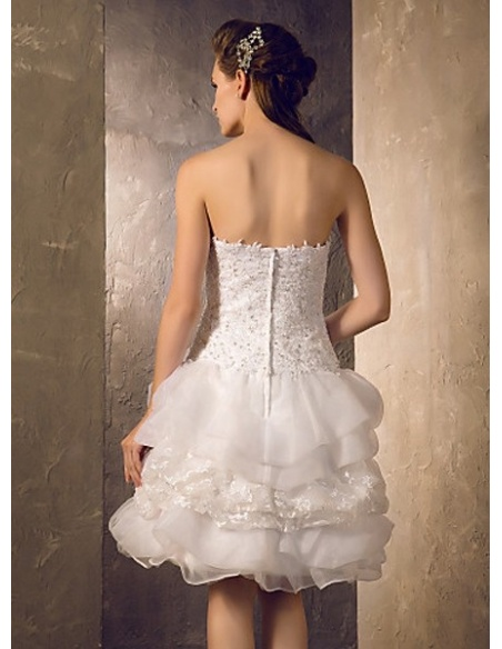 GRISELDA - A-line Short Organza satin Sweetheart Wedding dress