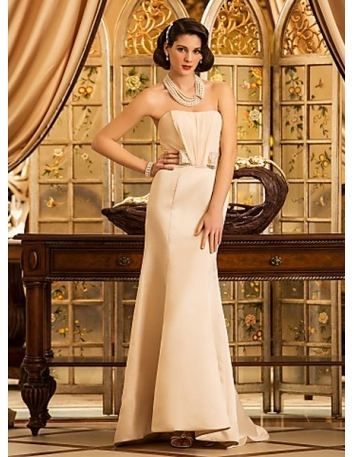 BELINDA - Mermaid Strapless Asymmetrical Satin Wedding dress
