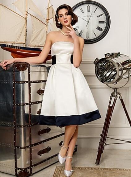 BLANCHE - A-line Empire waist Knee length Satin Strapless Wedding dress
