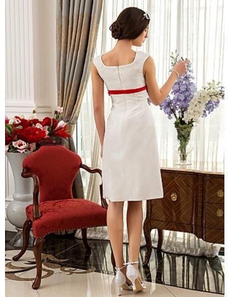 BBLYTHE - Empire waist Sheath Knee length Taffeta Lace Square neck Wedding dress