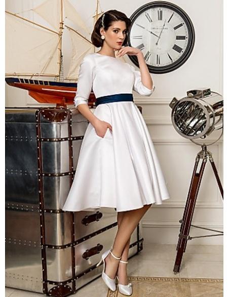 BONNIE - A-line Empire waist Knee length Satin High round/Slash neck Wedding dress