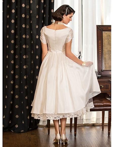 ABBY - A-line Empire waist Taffeta V-neck Wedding dress