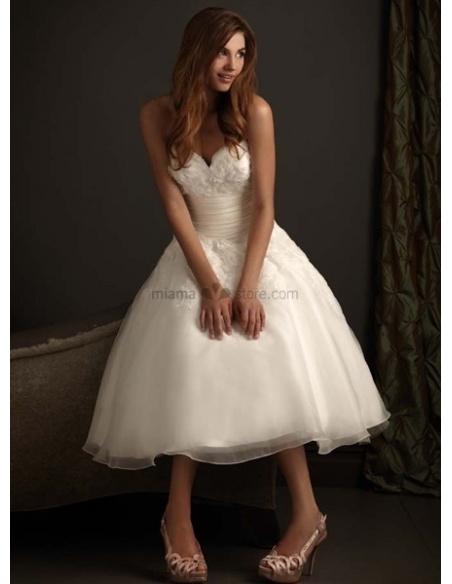 NATALIE - Short Sweetheart A-line Cheap Princess Tea length Tulle Wedding dress