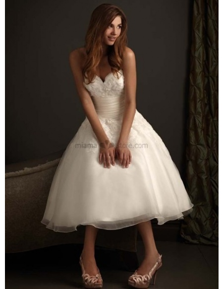 NATALIE - Short Sweetheart A-line Cheap Princess Tea length Tulle Wedding dress