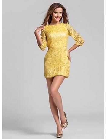 RUTH - Bridesmaid Cheap Sheath/Column Short/Mini Lace High round/Slash neck Wedding party dresses