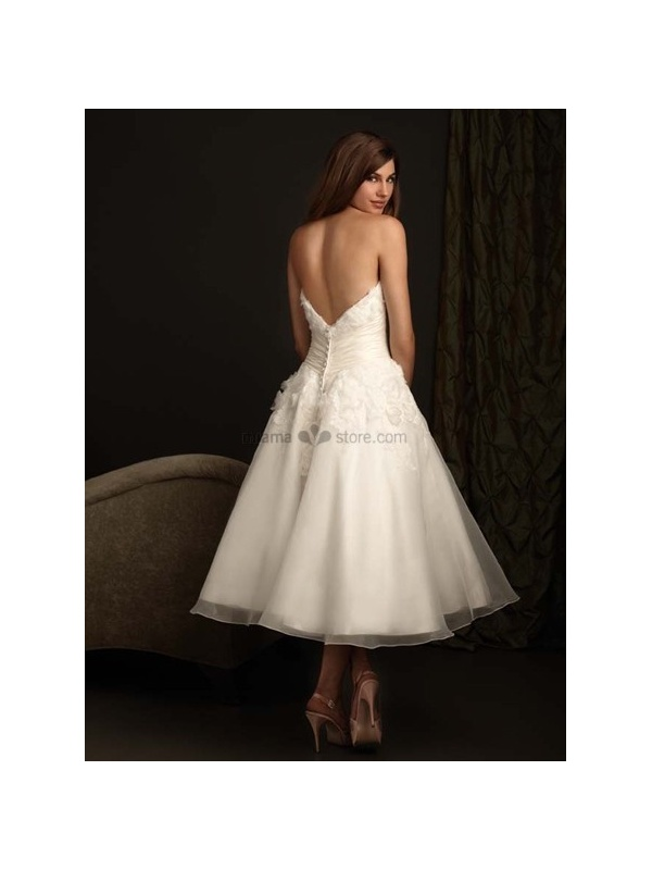 Short sweetheart a line cheap princess tea length tulle for Sweetheart tea length wedding dress