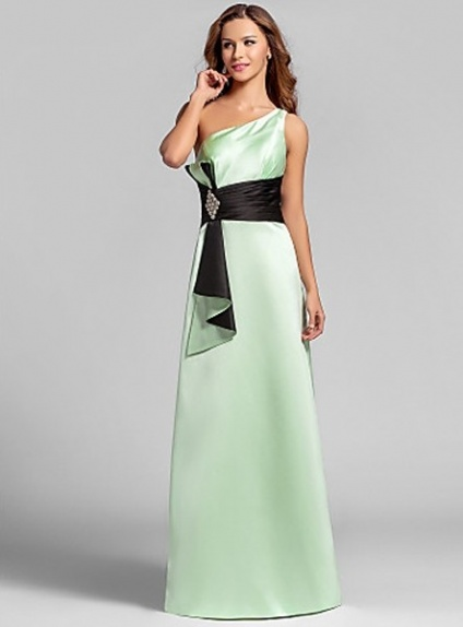 REBECCA - Bridesmaid Cheap A-line Floor length Satin One Shoulder Wedding party dresses