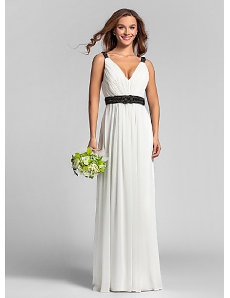 RACHEL - Bridesmaid Cheap Sheath/Column Floor length Georgette V-neck Wedding party dresses
