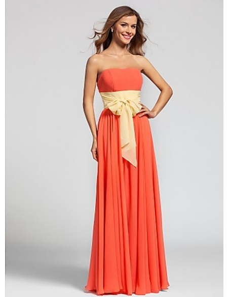 PRISCILLA - Bridesmaid Cheap A-line Floor length Georgette Strapless Wedding party dresses